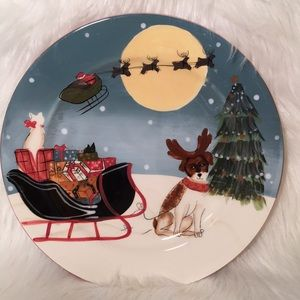 David Carter Brown Christmas Sleigh And Dog Plate